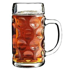Enjoy a large glass of beer with this Stolzle Oktoberfest 17.5 ounce beer mug. Made from glass, it features a pebble design that is reminiscent of traditional beer garden mugs. The large handle makes sure you have a good grip on the glass while drinking.