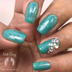Inspiration on Sparkly Turquoise Nails by Nail Envy. Check out more Nails on Bellashoot. Gorgeous Nails, Love Nails, Fun Nails, Pretty Nails, Turquoise Nail Designs, Colorful Nail Designs, Nail Art Designs, Cute Nail Colors, Unicorn Nails