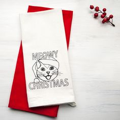 Meowy Christmas - Embroidered Christmas Hand Towel - Christmas Cat Towel - Kitchen Towel - Embroidered Dish Towel - Holiday Dish Towel by GoldenArrowLane on Etsy
