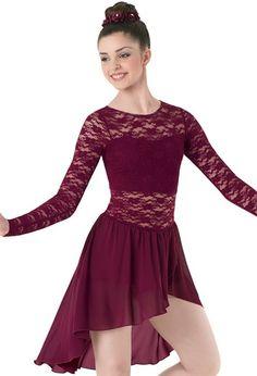 Asymmetrical Lace & Georgette Dress | Balera™ | dancewearsolutions.com | D9248