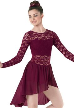 Asymmetrical Lace & Georgette Dress | Balera™ | dancewearsolutions.com | D9248