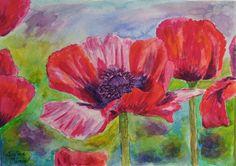 A4 Original Watercolour Painting  Flowers  by AvelineDanielArt
