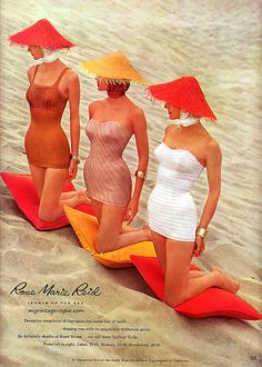 Summer's here and the curve-hugging is fine! #vintage #beach #1950s #ad #summer #swimsuit