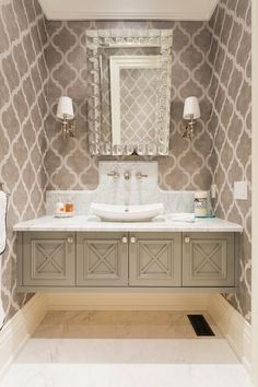 A floating vanity gives the illusion of more space in an otherwise cramped powder room. Powder Room Vanity, Powder Room Wallpaper, Powder Room Decor, Powder Room Design, Bathroom Wallpaper, Powder Rooms, Floating Bathroom Vanities, Floating Vanity, Small Bathroom