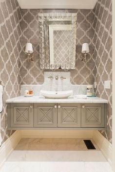 Beautiful floating powder room vanity