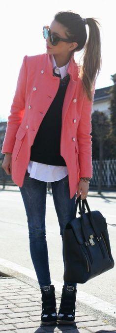 Coral jacket, black skinnies, booties