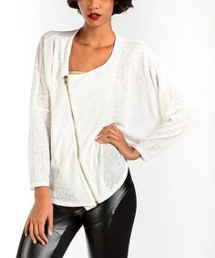Look at this Premise Paris Ivory & Gold Zip Linen-Blend Dolman Top on #zulily today!