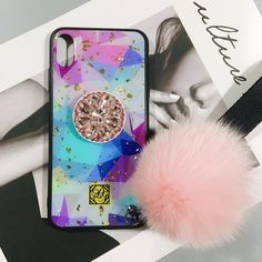 Glittering Trendy iPhone Case with Phone Holder and Pom-pom - iPhone XS Max / Colorful