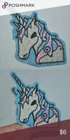 Unicorn Iron On Patch  Pretty!  BNWOT - iron on style // tags: magical unicorns magic blue patches diy customize custom horse horses girls girl girls kids kid womens women accessory accessories nwot new fun pretty beauty lovely love beautiful gorgeous pink patches bundle lot unique special cool rad badass neat girly jeans jean jacket horn myth mythological creature animals animal nature Accessories