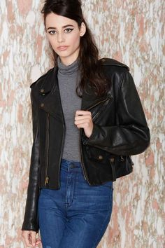 Vintage DKNY Tough Luck Leather Moto Jacket