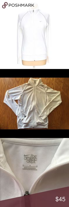 NWOT white Nike full zip New and never worn white Nike full zip with heather gray detailing. In perfect condition. Great for working out and running 🏃♀️ Nike Tops Sweatshirts & Hoodies