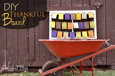 DIY thankfulness calendar - each day in November, up until Thanksgiving, everyone writes down one thing they are thankful for. Write it down and put it in the envelope, then on Thanksgiving day sit down and read them all