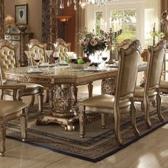 Irresistibly inviting, the Versailles Dining Room Collection by Acme Furniture displays the unrivaled beauty of the traditional dining. This collection would be perfect for any formal dining room. Double Pedestal Dining Table, Solid Wood Dining Table, Dining Table In Kitchen, Extendable Dining Table, Dining Tables, Glass Kitchen, Acme Furniture, Dining Furniture, Furniture Stores
