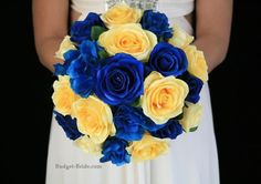 Yellow and Royal Blue Wedding Flowers Blue Yellow Weddings, Yellow Wedding Flowers, Summer Wedding Colors, Gold Flowers, Our Wedding, Dream Wedding, Wedding Ideas, Wedding Poses, Trendy Wedding