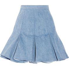 Balmain Pleated denim mini skirt ($470) ❤ liked on Polyvore featuring skirts, mini skirts, bottoms, balmain, saias, faldas, blue, mini, short mini skirts and blue mini skirt