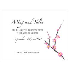 Cherry Blossom Save The Date Cards. This romantic design features richly symbolic cherry blossom branches. The Asian character that means love can also be found on some pieces. A modern variation on a floral theme.
