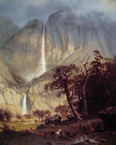 Cho-looke, The Yosemite Fall: 1864 by Albert Bierstadt (Timken Museum of Art - San Diego) - Hudson River School Landscape Art, Landscape Paintings, Landscapes, A4 Poster, Poster Prints, Albert Bierstadt Paintings, Yosemite Waterfalls, Carl Spitzweg, Painting Prints