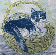 'Cat in a Basket' linocut by contemporary UK printmaker and artist Vanessa Lubach