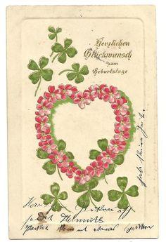 Prägekarte, Herz aus Blumen, Kleeblätter, 1900/10 | eBay