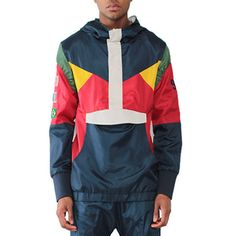Entree LS OLYMPIC WINDBREAKER NAVY JACKET ($160) ❤ liked on Polyvore featuring men's fashion, men's clothing, men's outerwear, men's jackets and navy multi