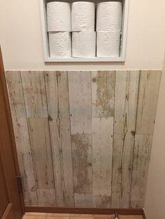 暗〜いトイレ♡セルフリフォーム②セリアのリメイクシートで壁を変えてイメチェン♫|LIMIA (リミア) Toilet Paper, Canning, Home, Ad Home, Homes, Home Canning, Haus, Toilet Paper Roll, Conservation