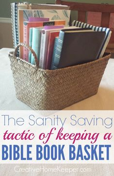 Want a more organized and productive devotional time? Try the sanity saving tactic of keeping a Bible book basket. There are so many benefits to having one. Learn why you should have one, how to organize it and what to keep in your basket. Bible Study Tips, Bible Study Journal, Scripture Study, Bible Lessons, Prayer Journals, Prayer Closet, Prayer Room, Book Baskets, Bible Prayers