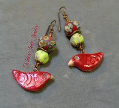 Ceramic Organic Raku Earrings-Raku-Lampwork Beaded Earrings-Artisan Earrings-Artisan Lampwork Dangle Earrings-SRAJD - Artisan Ceramic Beads by klassyjoolz on Etsy