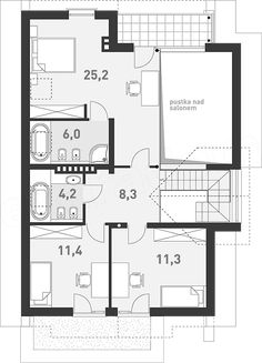 Projekt domu Z Charakterem 3 138,1 m2 - koszt budowy - EXTRADOM New Homes, Floor Plans, House Design, How To Plan, Projects, Ideas, Country Houses, Blue Prints, New Home Essentials