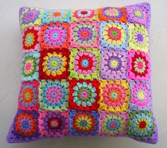 patchwork granny square cushion cover
