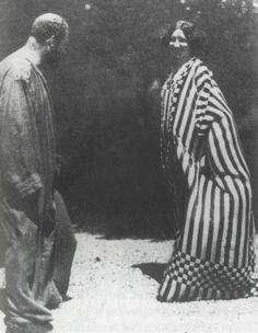 Gustave Klimt and Emilie Flöge wearing garments of Klimt's design, 1905-1910 crazy kids