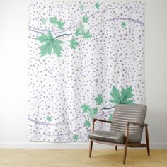 Maple leaves mint and lavender polka dots tapestry - pattern sample design template diy cyo customize