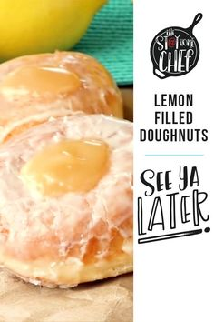 Easy homemade Lemon Filled Doughnuts made completely from scratch. There's nothing better than a warm fresh donut! High Protein Vegetarian Recipes, Vegetarian Meal Prep, Diy Donuts, Doughnuts, Donut Recipes, Cooking Recipes, Pastries Recipes, Homemade Desserts, Easy Desserts