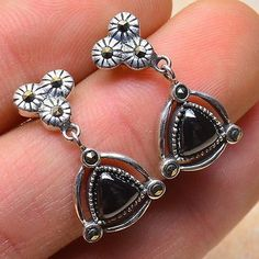 Sterling Silver Hematite Marcasite Gemstone Post Earrings - pinned by pin4etsy.com