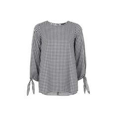 Topshop Gingham Tie Sleeve Top (170 RON) ❤ liked on Polyvore featuring tops, monochrome, topshop tops, mixed print top, tie top, sleeve top and patterned tops