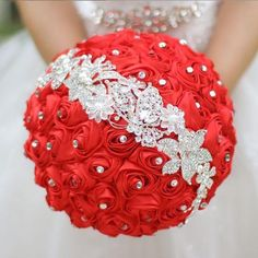 Handmade Bride Brooch Bouquets Satin Roses Same As Picture_1