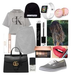 """#20 ‼️"" by hannahsmith-xv ❤ liked on Polyvore featuring Calvin Klein, Vans, Gucci, Christian Dior, Fiebiger, jane and Clarins"