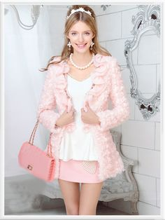 Morpheus Boutique - Pink Ruffle Long Sleeve Knit Crystal Sweater Jacket