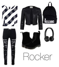 """""""ROCKER"""" by sparklyneonpink on Polyvore featuring Oscar de la Renta, Dr. Martens, Moschino and Beats by Dr. Dre"""