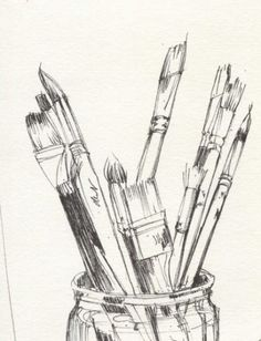 pencil drawings Ideas For How To Start Drawing Again Pencil Art Drawings, Art Drawings Sketches, Easy Drawings, Paint Brush Drawing, Art Du Croquis, Object Drawing, Book Drawing, Drawing Ideas, Observational Drawing