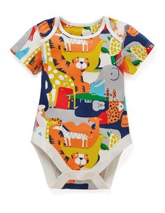 5 Pack Boys' Animal Print Short Sleeve Bodysuits