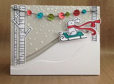 The bunny slides down the hill! Lawn Fawn Joy to the Woods, Winter Bunny, Stitched Hillside Borders stamps&dies, twine. Simon Says Stamp Falling Snow stencil, fog cardstock. Copic markers. Wendy Vecchi embossing paste, Fancy Pants sequins.