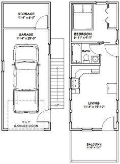 14x30 Tiny House 14X30H1A 419 sq ft Excellent Floor Plans