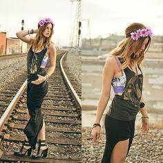 Victoria's Secret Bustier Bra, Lf Store Shirt, Lf Store Skirt, M. Cohen Jewelry