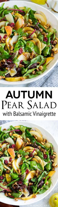 This Flavorful Pear Salad Will Easily Become A Favorite Fall Recipe It's Layered With Tender Spring Greens, Sweet Juicy Pears, Crunchy Candied Walnuts, Salty Rich Parmesan And A Tangy Balsamic Vinaigrette. A Highlight Of Any Meal Via Cookingclassy Healthy Salads, Healthy Eating, Healthy Recipes, Clean Eating, Pear Recipes, Fall Recipes, Pear Salad, Candied Walnuts, Empanadas