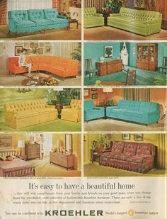 Why can't i find any of these exact couches anywhere? I love this style Kroehler Furniture ad, 1962 Mid Century Decor, Mid Century House, Mid Century Furniture, Mid Century Design, Sala Vintage, Vintage Ads, Vintage Decor, Vintage Homes, 1960s Decor