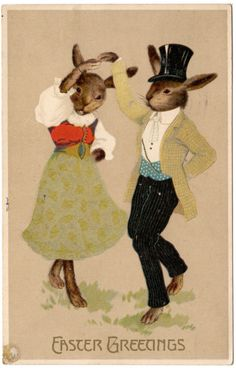 Easter Postcard Dressed Bunny Rabbits Dancing