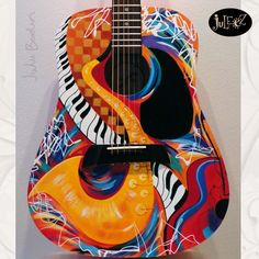 Hand Painted Guitar by Julie Borden
