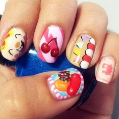 Candy Crush Saga nail art - artist unknown Thought you guys might like it (mom and Erica) Nail Designs 2014, Creative Nail Designs, Cute Nail Designs, Creative Nails, Fabulous Nails, Gorgeous Nails, Love Nails, Fun Nails, Pretty Nails
