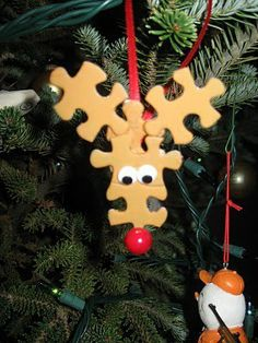 Puzzle pieces reindeer ornament