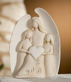 Gilde-Figur-Engel-Engelsfigur-Nane-mit-2-Kinder-25-x-34-cm-creme-weiss 2 Kind, Paper Mache, Clay Art, Pottery, Totems, Creme, Crafts, Ebay, Brunettes